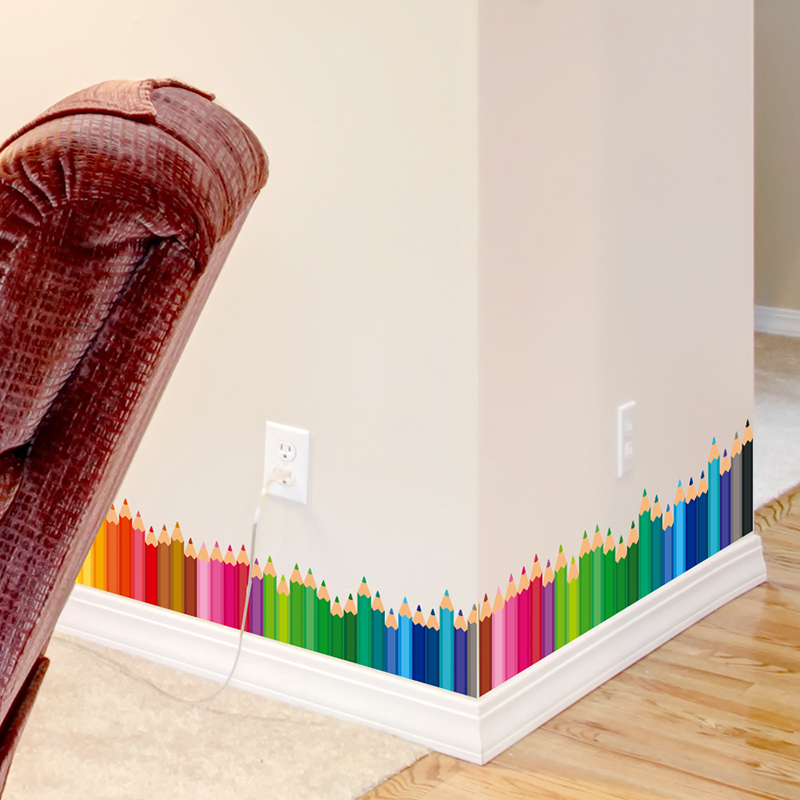 shijuehezi bunte bleistifte baseboard aufkleber vinyl diy sockel aufkleber fr kinderzimmer kindergarten wandkunst dekoration - Sockelleiste Fur Kuche
