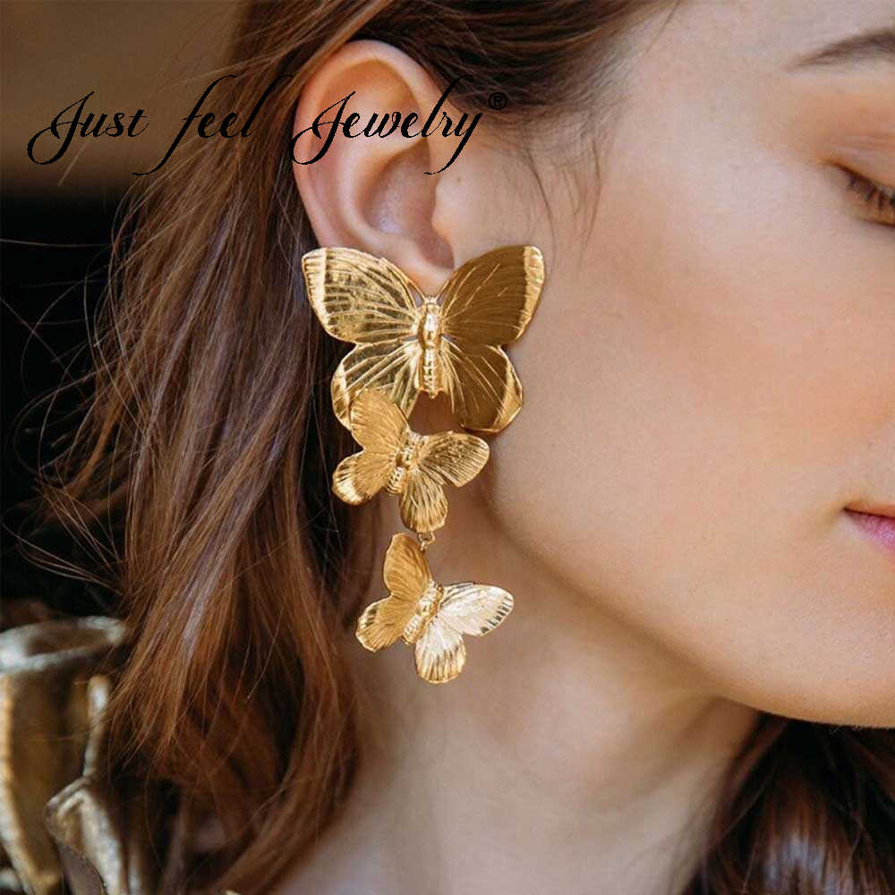 JUST FEEL Trendy 2019 New Butterfly Pendant Drop Earrings Bohemian For Women Fashion Big Flower Wedding Statement Party Jewelry