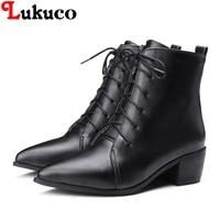 2018 Pure Color Lady Ankle Boots Plus Size 36 37 38 39 40 41 42 43