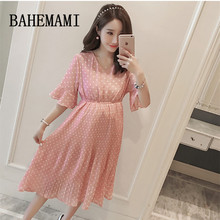 Maternity Dress Vestido Polka Dots Summer Pregnancy Clothing V-neck Chiffon Maternity Print Pleated Dresses For Pregnant Women стоимость