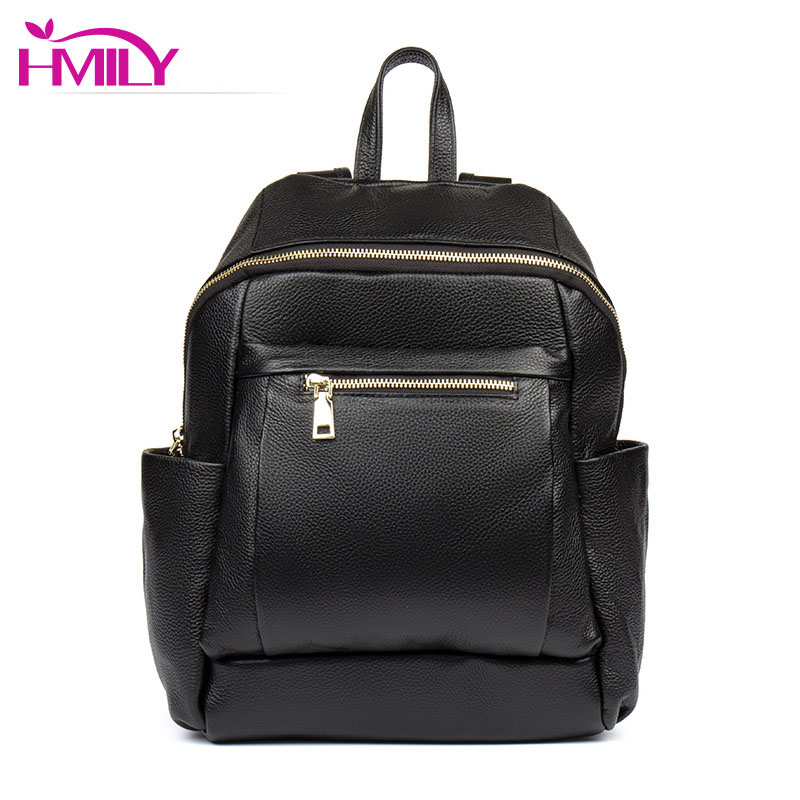 HMILY Cow Leather Backpack Women Genuine Leather Women Bag Daily School Bag Student Daypack Classic Black Ladies Travel Bag cow genuine leather backpack female leisure style school bag ladies high quality leather daily bag women soft travel bag n140