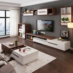 Современный минималистичный журнальный столик с белой росписью, комбинированный журнальный столик для телевизора, модный растягивающийся...