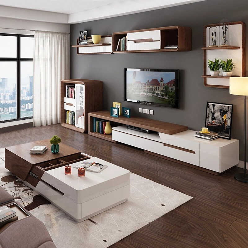 Modern Minimalist White Painted Coffee Table TV Cabinet Combination Fashion Wood Grain Stretchable Living Room Coffee Table
