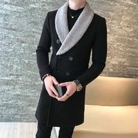 Long Wool Coats Mens Khaki Double breasted Long Coats Mens Gentleman Trench Coats Abrigo Hombre Invierno Casaco Longo Masculino