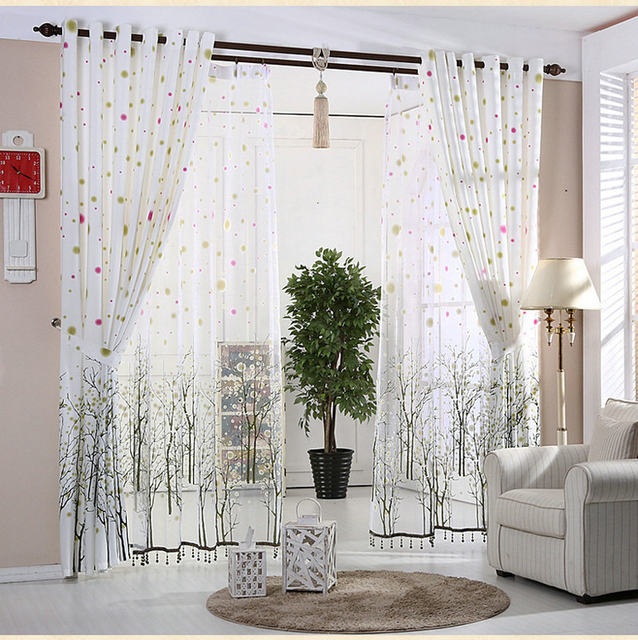 White Curtains For Living Room Rustic Kitchen Beaded Snowy Plants Black Trees Window Treatment Drapes Custom Made