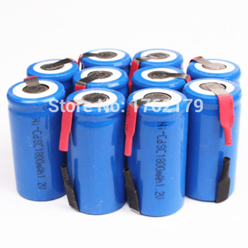 10 Pieces/Lot 22*42mm Sub C SC Rechargeable Battery 1.2V 1800mAh NI-CD Batteries With PCB For Electronic Tools 2016 popular blue color 8 pcs a set ni cd 4 5 subc sub c 1 2v 2200mah rechargeable battery with tab blue