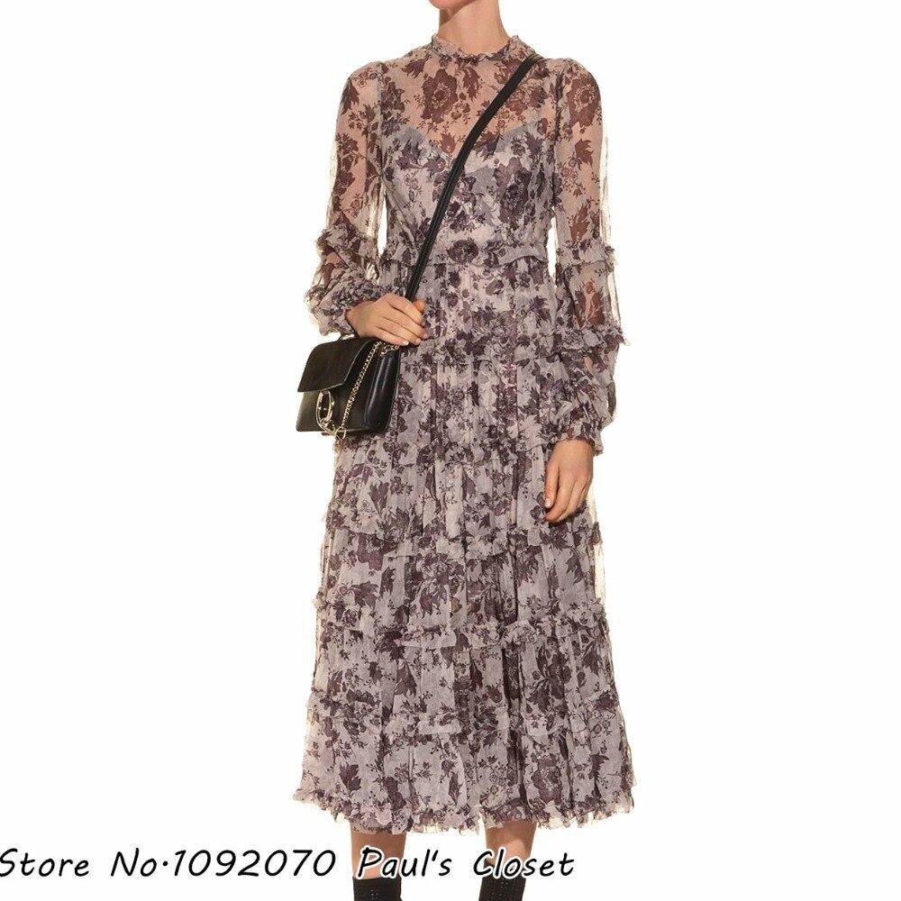 Femmes col haut vieilli Batik imprimé soie à plusieurs niveaux longue robe