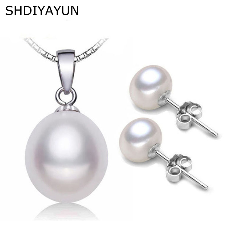 SHDIYAYUN Fine Pearl Jewelry Set Natural Freshwater Pearl Necklace Earrings Classical 925 Sterling Silver Jewelry Set For Women