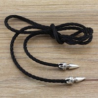 Sterling Silver Necklace neck rope rope lanyard male personality black leather strap buckle silver pendant accessories