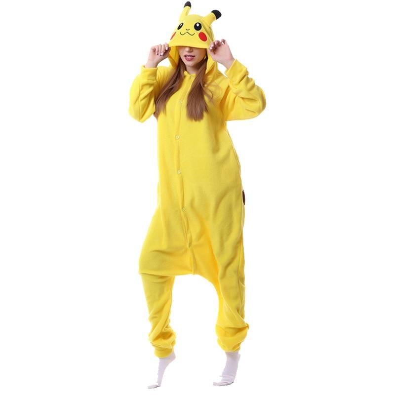 Kugurumi Woman Fleece Pajama Onesie Adult Animal Cartoon Costume Flannel Jumpsuit Pokemon Pikachu Winter Sleep Suit 148cm-188cm