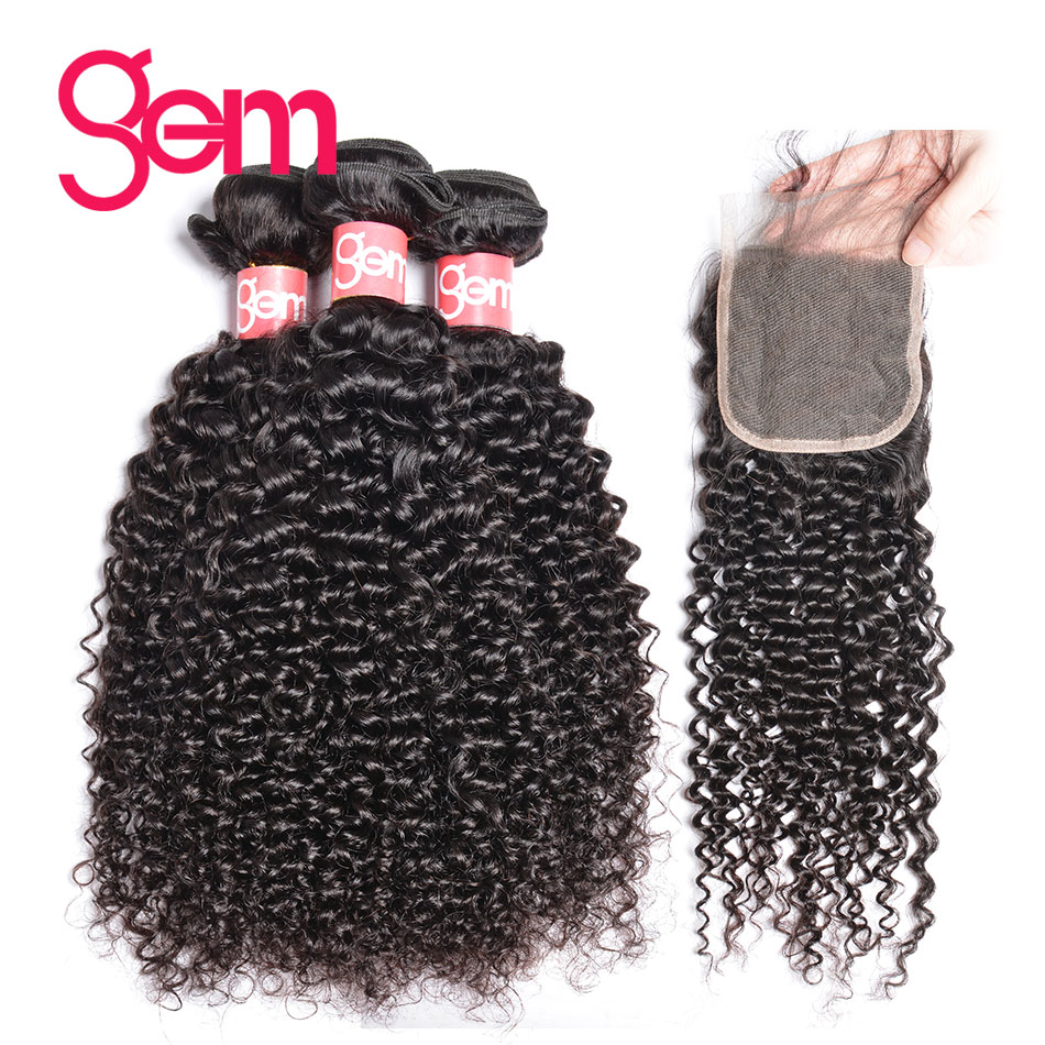 Mongolian Afro Kinky Curly Hair with Closure 100 Human Hair 3 Bundles With Closure Free Part