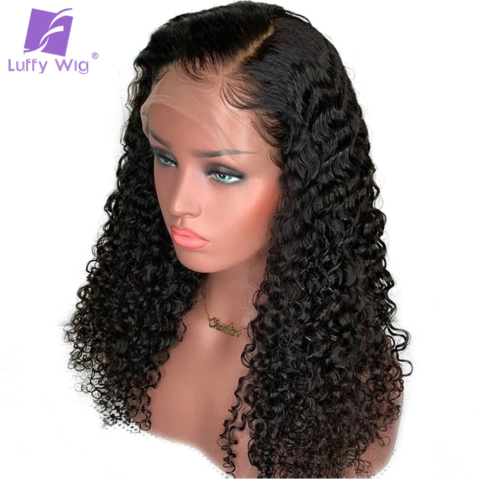 Luffy Kinky Curly Full Lace Human Hair Wigs Glueless Pre Plucked With Baby Hair Bleached Knots Remy Malaysian 130%Density