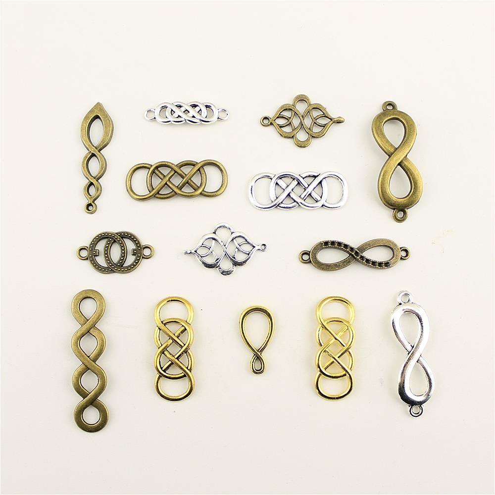 10 pçs moda jóias fazendo duplo infinito símbolo conecta bebês jóias achados componentes pingente charme
