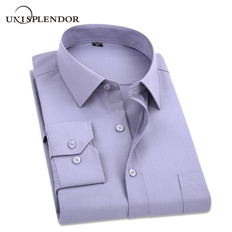 Oversize 5XL 2019 lente mannen overhemden pure kleur heren lange - Herenkleding