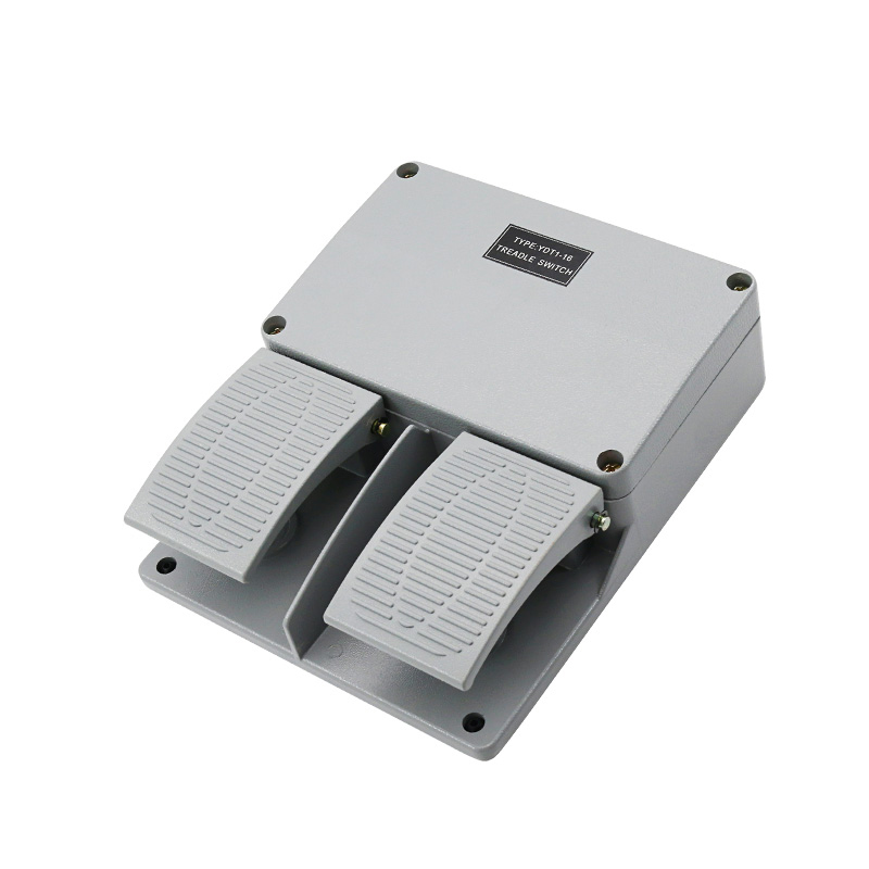 New Foot switch YDT1-16 aluminum shell gray double pedal switch machine tool accessories switch