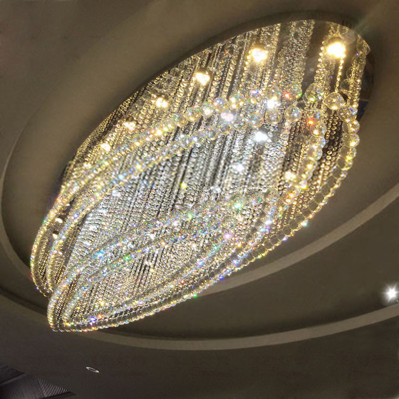 Ceiling Light Crystal Light Oval Hotel Lobby Villa Living Room Dining Room Entrance Corridor Aisle Engineering Light led lamp northern american mediterranean crystal droplight sitting room dining room bedroom villa hotel lobby engineering lamps