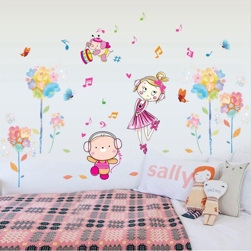 Zs Autocollant Filles Chambre Stickers Muraux Pour Enfants