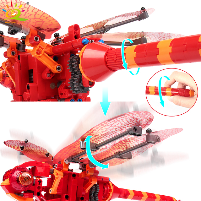 HUIQIBAO Simulated animal insect DIY Dragonfly Wasp Building Blocks Technic model Bricks construction Toys for Children