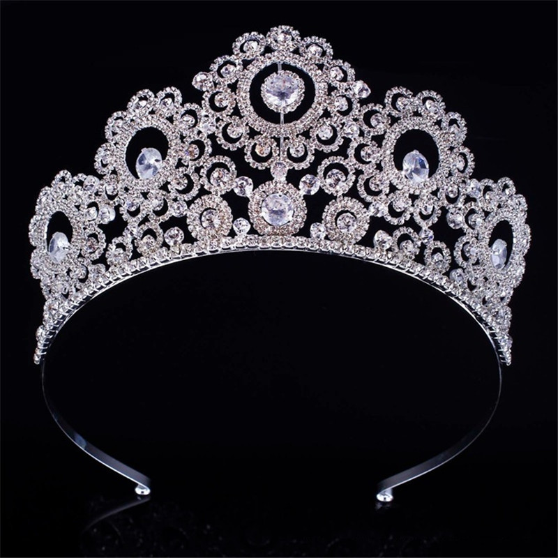do dower New Big European Bride Wedding Gold Silver Color Crown Austrian Crystal Large Queen Crown Wedding Hair Jewelry FN-GB056
