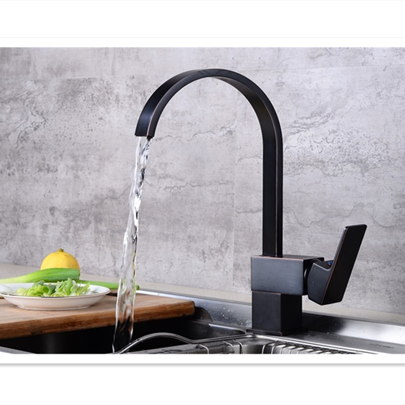 Kitchen Faucets Brass Black Two Type Square Kitchen Flat Mouth 360 Degree Rotate Faucet Single Handle/Hole Crane Sink Mixer Taps