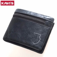 KAVIS 2017 100 Genuine Leather High Quality Men Wallets Casual Hasp Short Design Male Purse Card