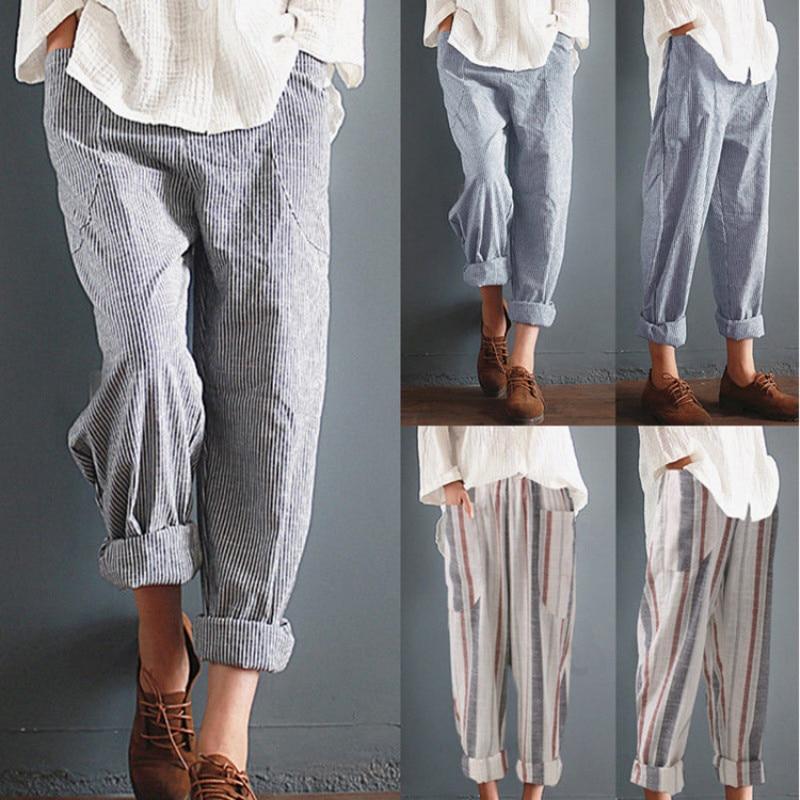 2019 Hot Sale Women Vintage Elastic Waist Loose Long  Trousers Leisure Retro Baggy Pantalon Cotton Linen Striped Harem Pants