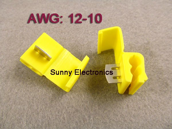 50pcs Yellow Scotch Lock Quick Splice 12 10 Awg Wire Connector