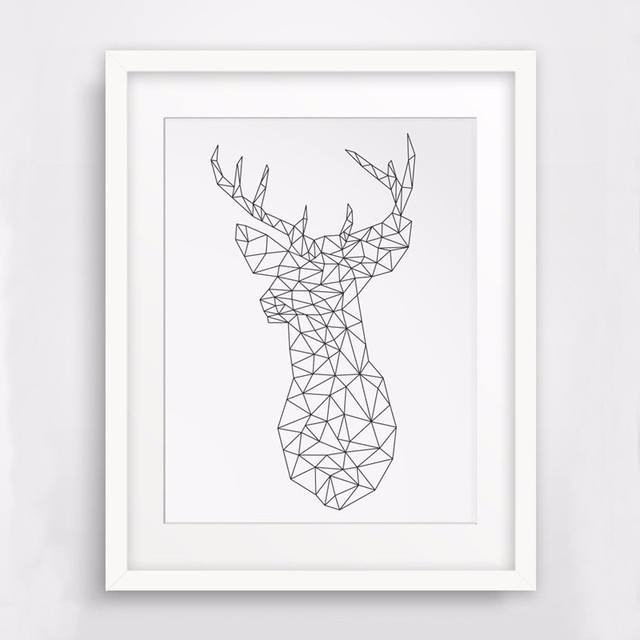 Charmant HOT Origami Deer Wall Art Canvas Poste, Geometric Anima Deerl, DIY Wall Art,