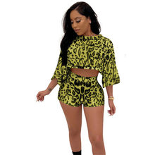 Printed women Summer two-piece Club suit Fashion Crop top 3/4 Sleeve T-shirt + shorts High waist Stretchy Vintage Clothes female(China)