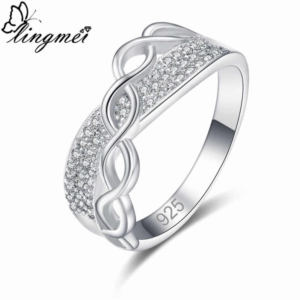 Lingmei جديد فريد تصميم الأسود و الأبيض مكعب زركونيا الفضة اللون حلقة حجم 6 7 8 9 الزفاف حزب مجوهرات الأزياء الخطبة
