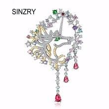SINZRY declaración elegante accesorio de la joyería de circonio cúbico colorido dragón borla broche de lujo bufandas hebillas