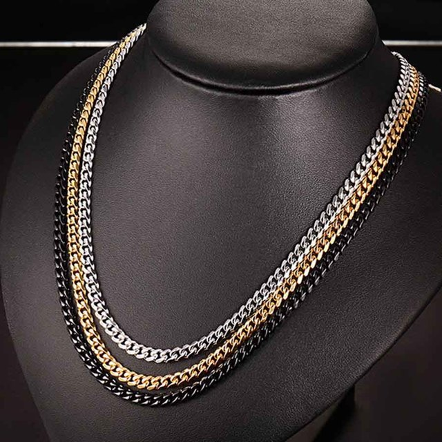 Длинная винтажная Золотая цепь для мужчин ожерелье из нержавеющей