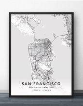 Плакат с картой США из Сан Франциско