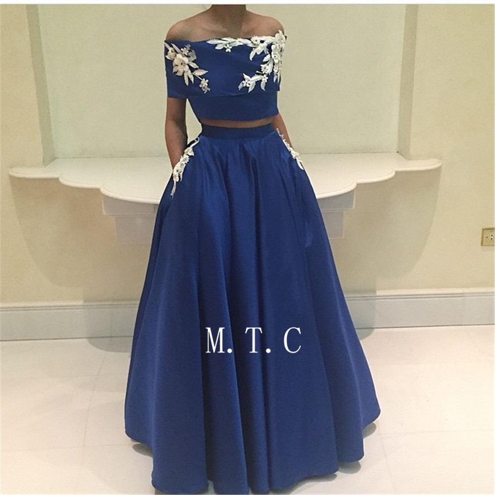 Blue 2 Piece Prom Dresses Off The Shoulder Boat Neck Flowers Satin A Line Long Formal Occasion Dress Cheap 2019 Robe De Soiree