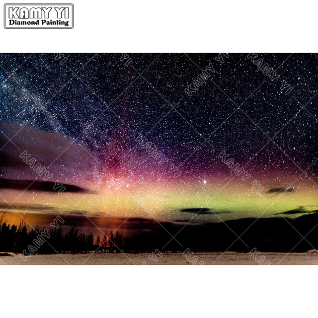 b37fa6c80b US $4.91 35% OFF| Full Square drill 5D DIY Diamond embroidery Aurora  Borealis Nigt Diamond Painting Cross Stitch Rhinestone Mosaic decoration-in  ...