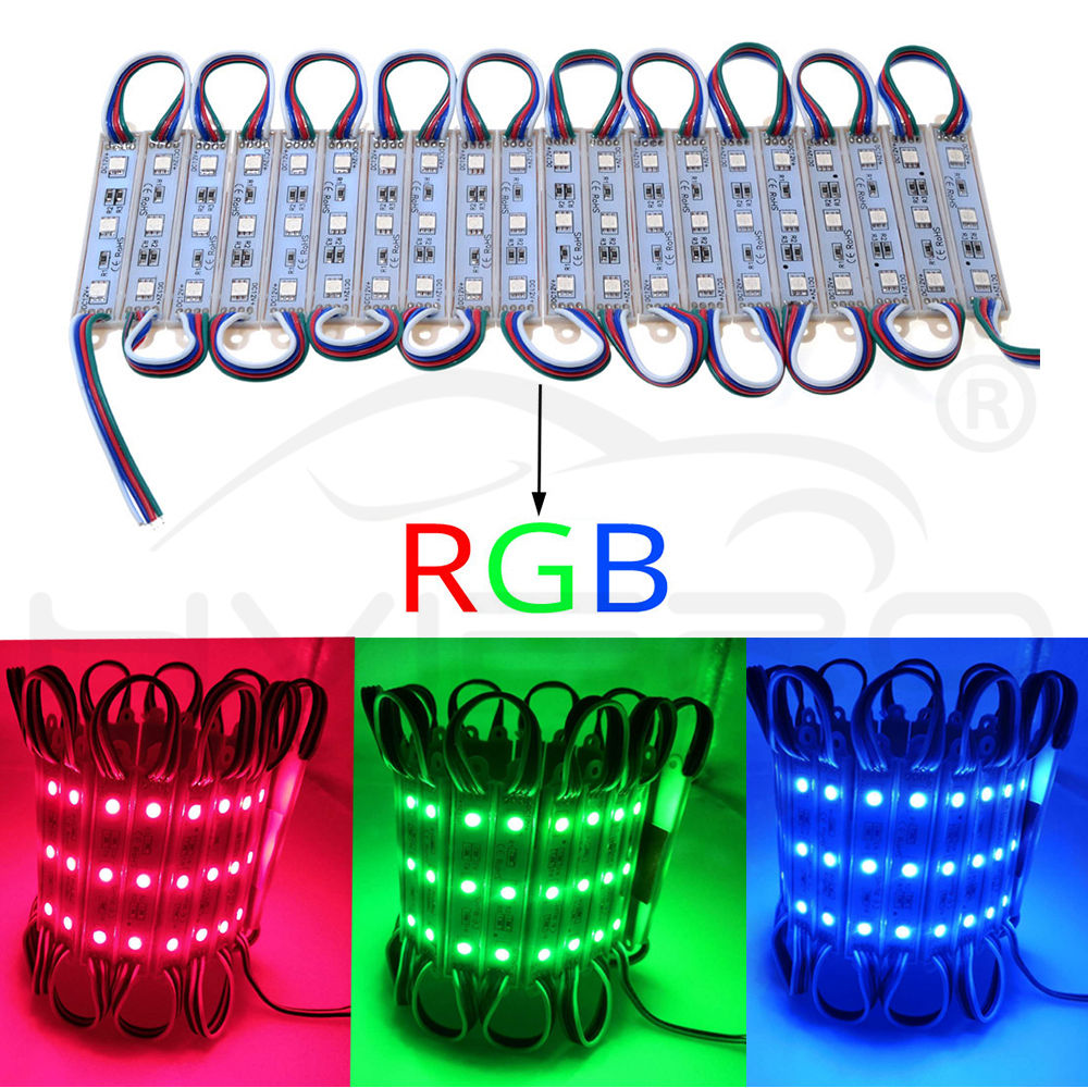 Hviero 20X 5050 SMD 3LED Modules Waterproof IP65 DC 12V Light Green Red Blue Warm-White Sign Led Back lights For Channel Letters White
