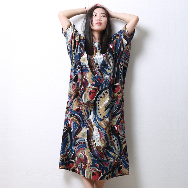 Hisenky 2019 Long Summer Beach Dress Half Batwing Sleeve Ethnic Cotton Women Dress O-Neck Abstract Robe Femme Fall Jumper Dress