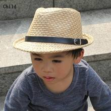 Fedora Child Straw Hat Unisex Outdoor Topper Sunhat Fashion Leisure Adult Jazz Cap For Spirng And