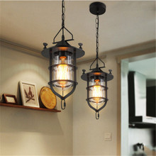 American Country Industrial Wind Dock Chandelier Creative Cafe Clothing Store Aisle Iron and Glass Chandelier Free Shipping