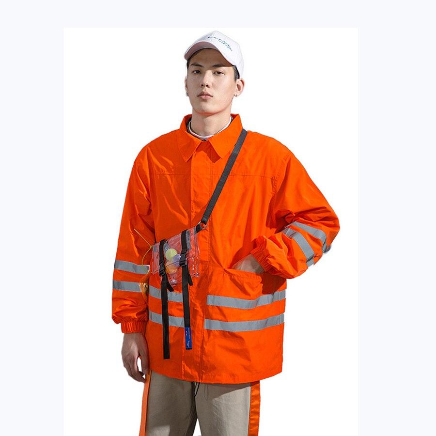 Blouson aviateur homme oversize Streetwear japonais Hip Hop Cargo Anorak 3 M veste réfléchissante homme Orange jaune homme coupe-vent