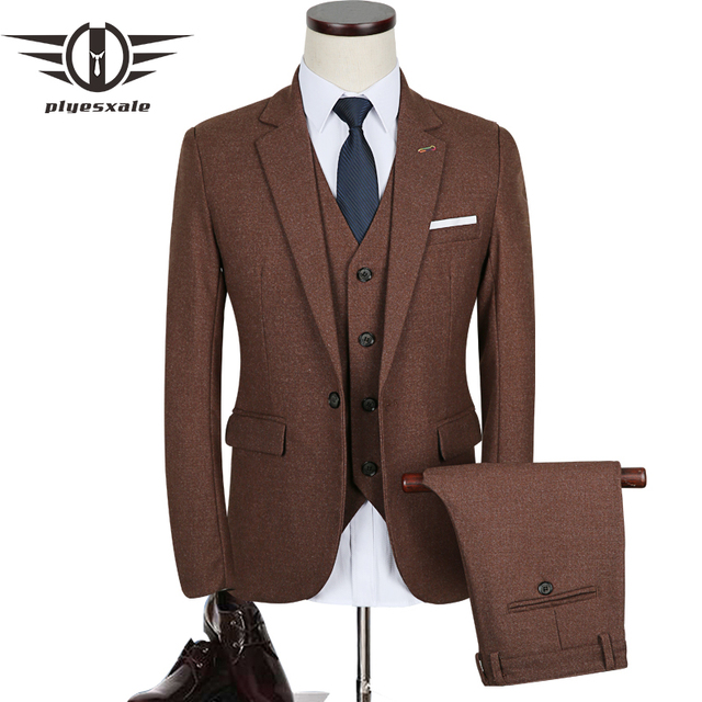 ab07370ffafa Plyesxale 3 Stück Anzug Männer 2018 Herbst Slim Fit Herren Hochzeit anzug  Dunkelgrau Weinrot Blau Smoking