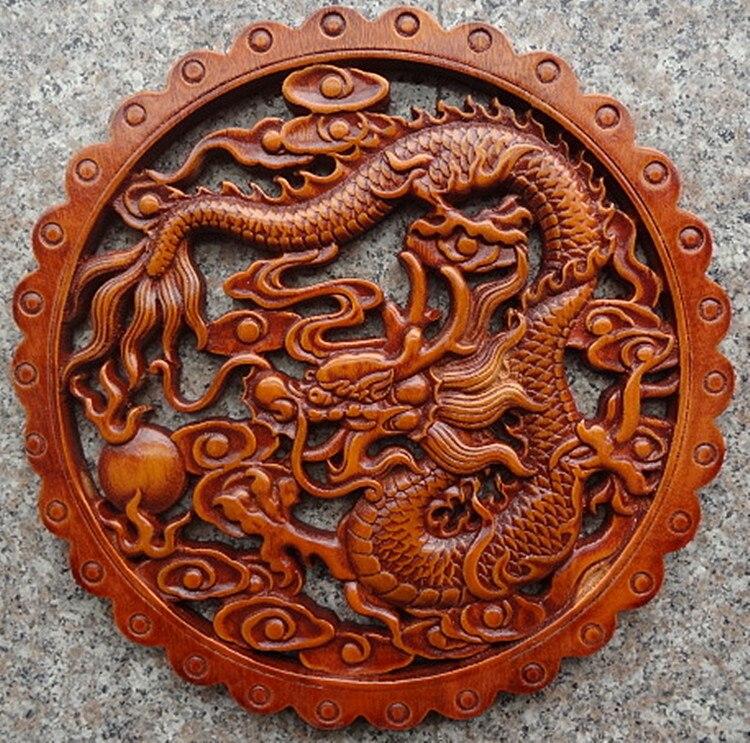 Délicat rond chinois artisanat traditionnel classique camphre bois tenture murale-Dragon
