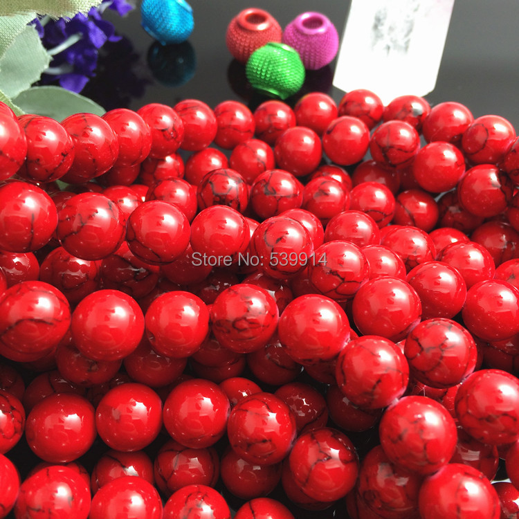 4MM 6MM 8MM 10MM 12MM Blue/White/Red Synthetic Loose Stone Jewelry Beads 1String/Lot