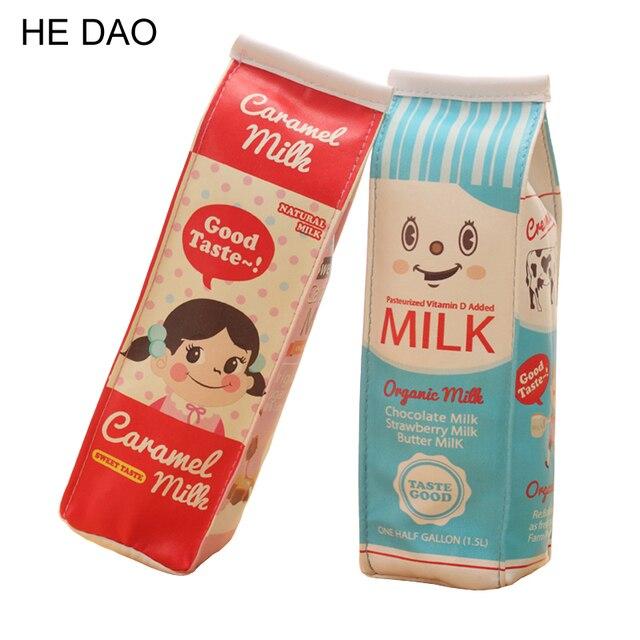 1 шт. Творческий моделирование Milk Box искусственная кожа пенал для хранения канцелярских органайзер Bag Школа канцелярских товаров Эсколар papelaria