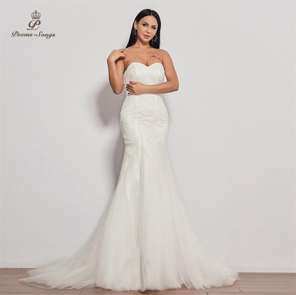 New Style Wedding Dress 2020  Strapless Vestidos De Novia Wedding Gown Mermaid Bridal Dress Sexy Robe De Mariee Dress