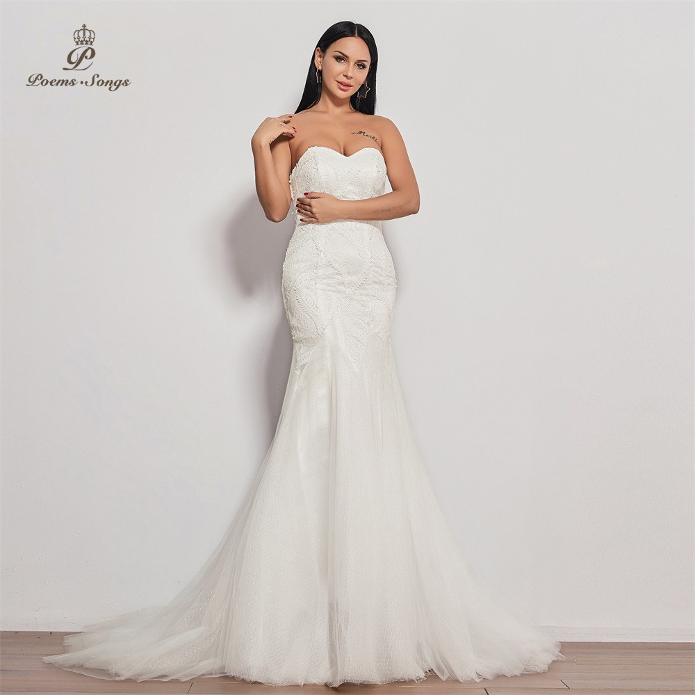 PoemsSongs  2019 new wedding dress strapless vestidos de novia wedding gown mermaid bridal dress sexy robe de mariee women-in Wedding Dresses from Weddings & Events