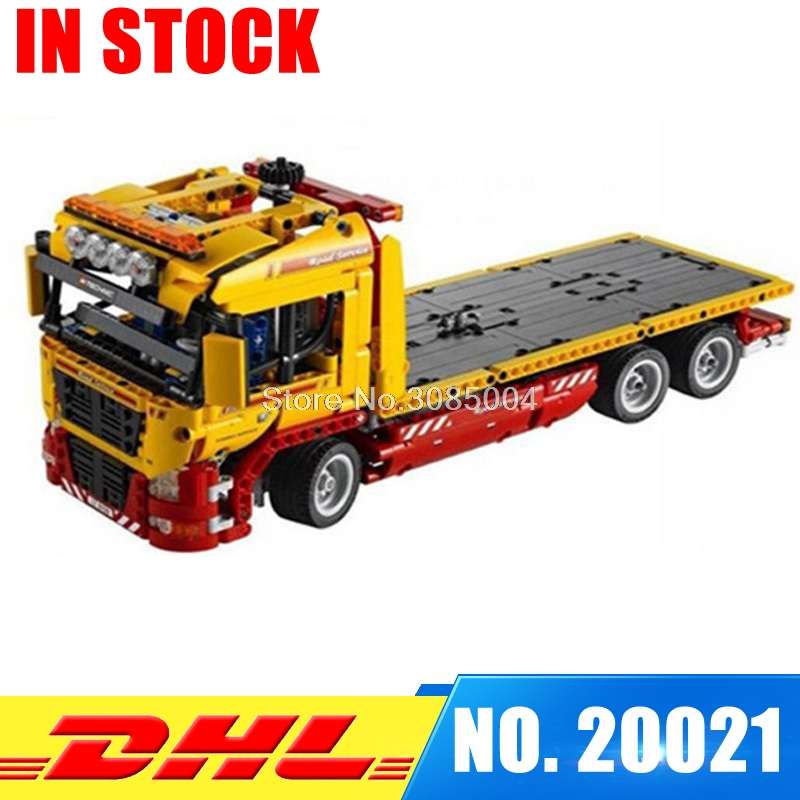 IN Stock Lepin 20021 technic series 1115pcs Flatbed trailer Model Building blocks Bricks Compatible Toys Educational Car 8109 lepin 21003 series city car classical travel car model building blocks bricks compatible technic car educational toy 10252