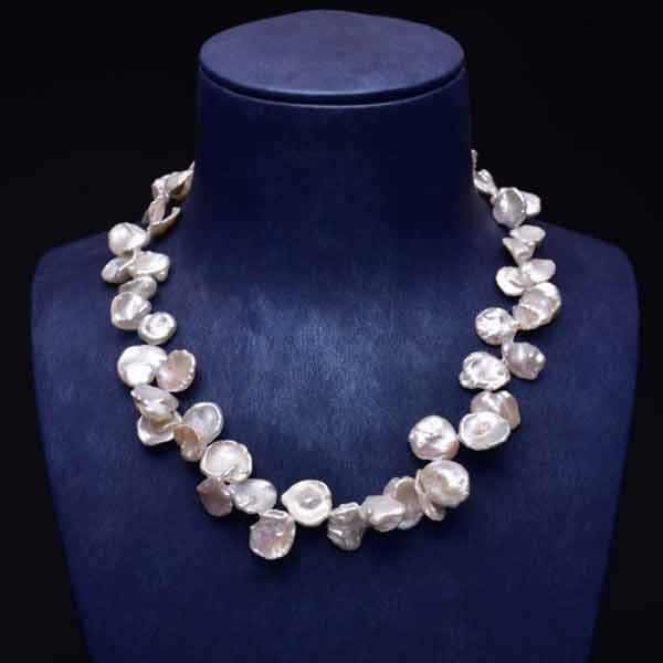 17 inches 12-18mm Natural White Baroque Keishi Pearl Necklace with Stelring Silver Clasp