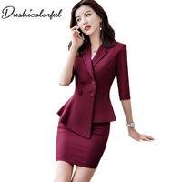 Summer Female 2 Pieces Set fashion business women suit office ladies work wear uniform skirt suit Interview thin blazer
