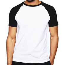 High Quality Cotton Raglan Sleeve Men T Shirt Fashion blank T-shirt for Men solid pure color Ringer Tops Tees